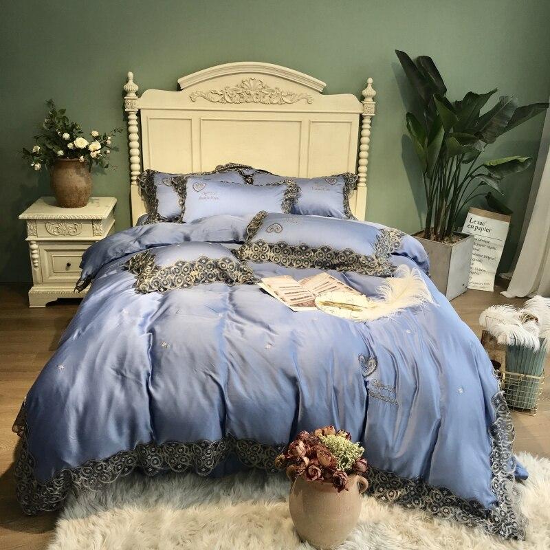800TC Tencel juego de cama de seda sábana de cama edredón bordado de lujo juego de cama Queen King size ropa de cama funda de almohada ropa de cama cama-in Juegos de ropa de cama from Hogar y Mascotas    2
