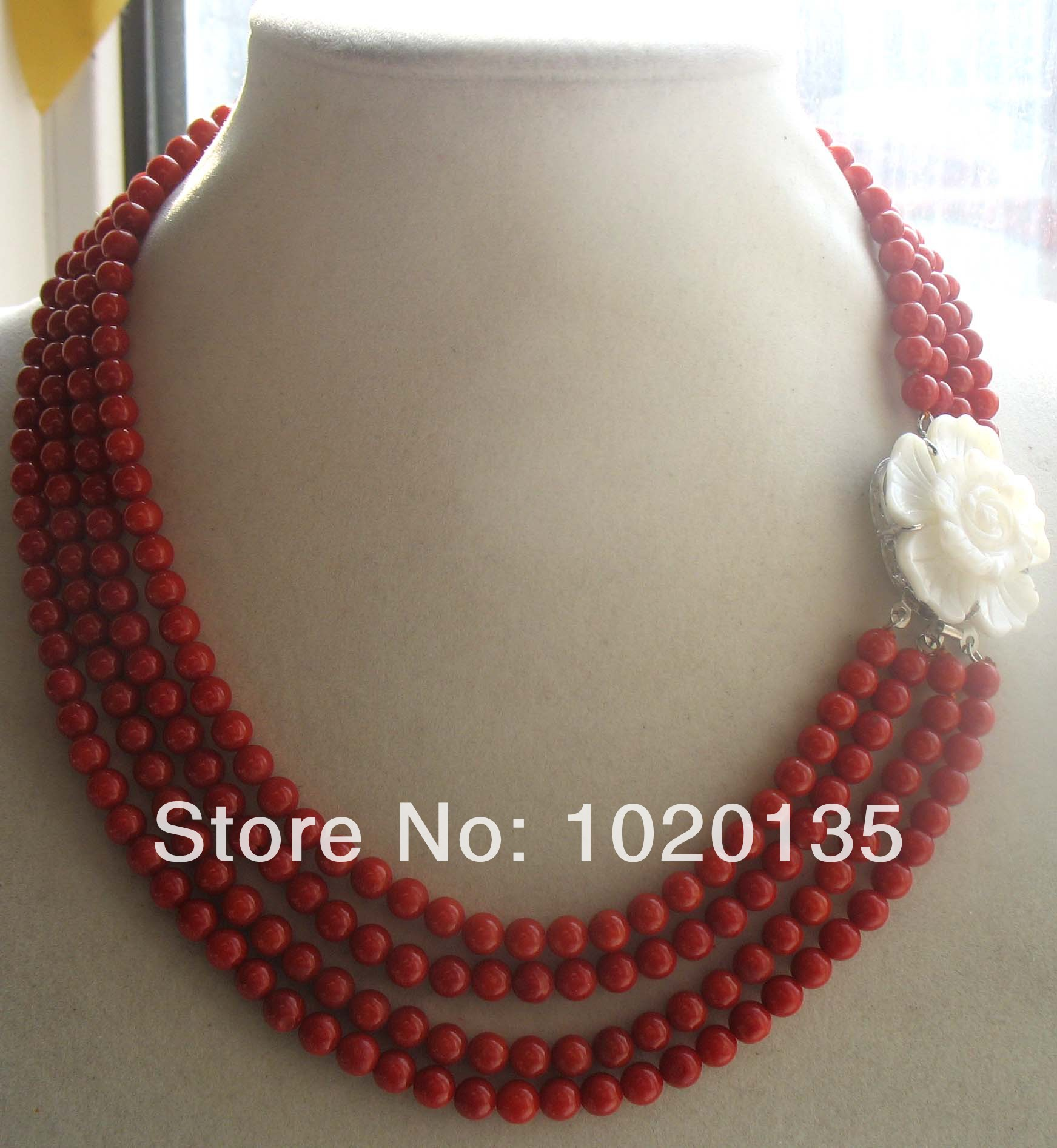4rows coral red round 5mm 16-18