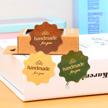 Handmade 120Pcs Adhesive Stickers Kraft Label Sticker Diameter 4*4CM For Diy Hand Made Gift Cake Candy Paper Tags