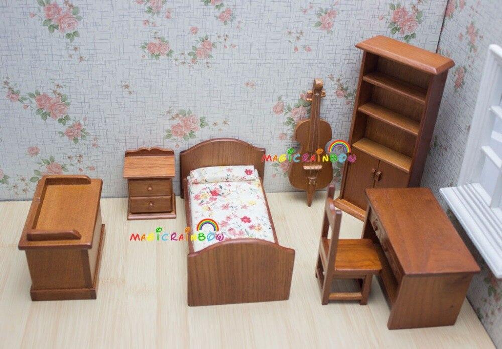 Poupées Salon Meubles Lit Bibliothèque Meuble De Rangement Chevet Table Chaise Violoncelle Dollhouse Miniatures 1:12 Chambre Ensembles