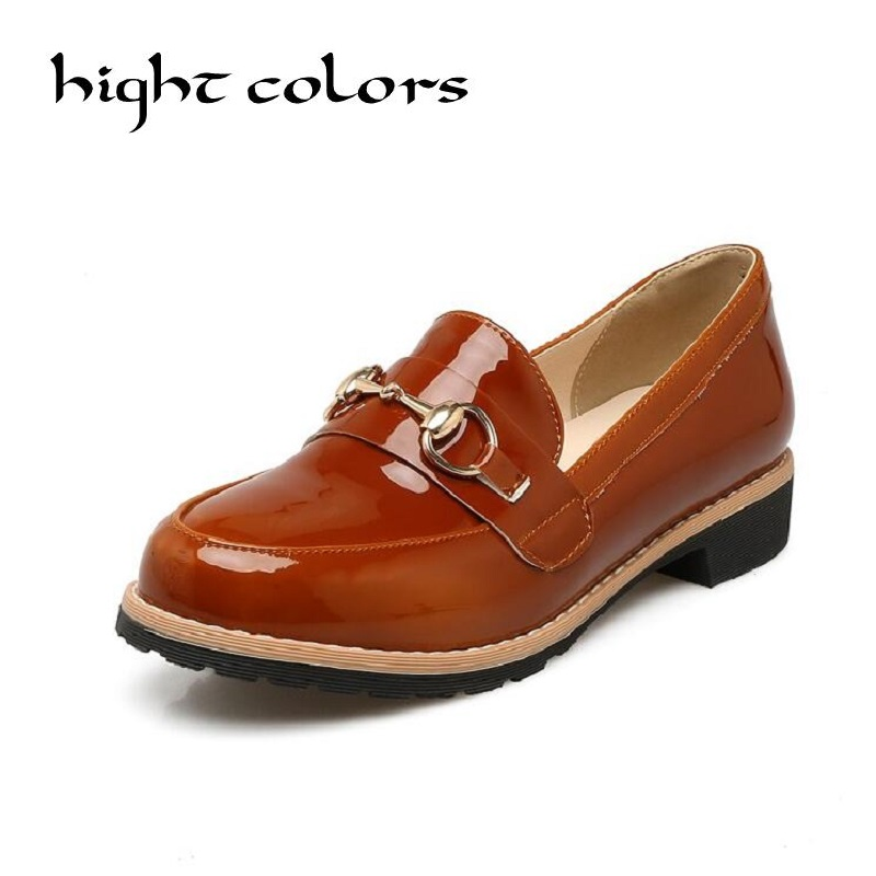 Women Shoes Patent Leather Oxford Chains Shoes For Women Flats Shoes Slip-On Woman Moccasins Ballet Flats Zapatos Mujer 2017 New new 2016 women shoes fashion genuine leather oxford shoes for women flats shoes woman moccasins ladies shoes zapatos mujer 35 40