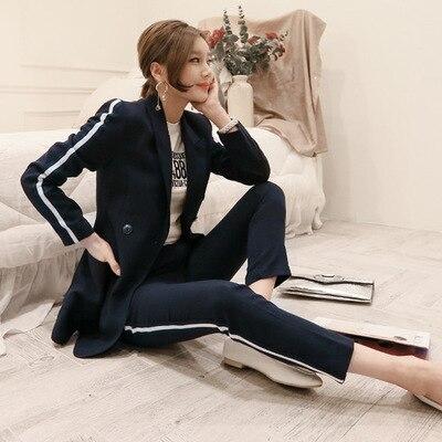 A Di Vestito Casual Formale Petto Doppio Deep Sportiva Della Pantaloni Usura Pezzi Blue Set Giacca Due Signore Lavoro Femminile Slim Dell'ufficio Donne Del 5gxq7gX