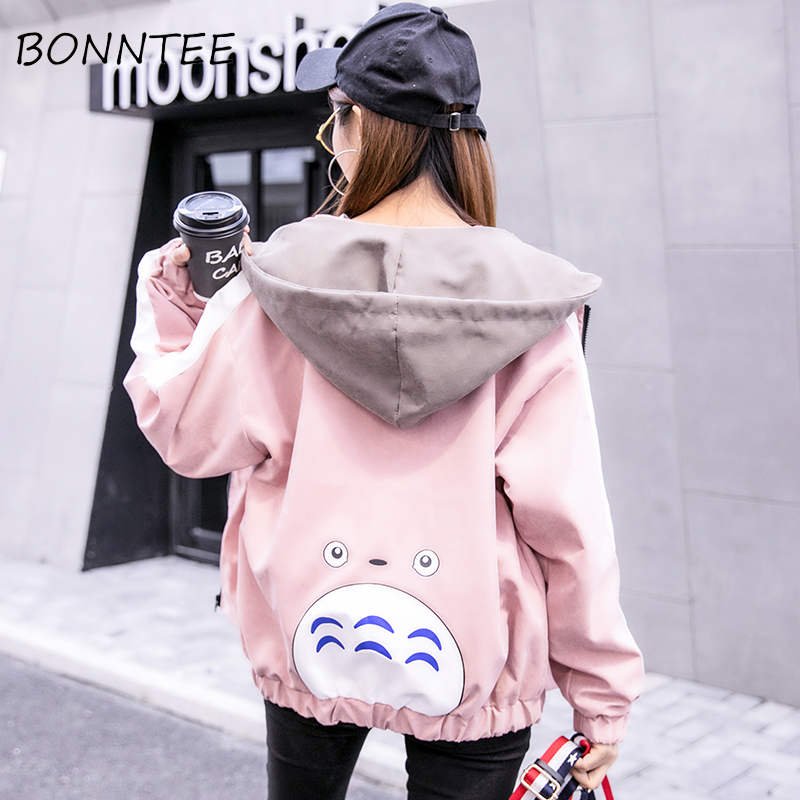 Jackets   Women New Loose Cartoon Hooded Long Sleeve Casual   Basic     Jackets   Womens Harajuku Fashion Students Daily Outerwear Chic