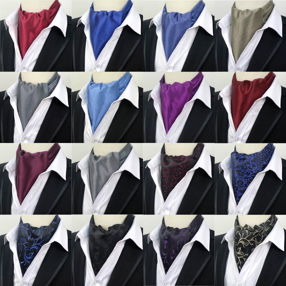 LJ08 09 16C Factory Solid Floral Mens Silk Cravat Ascot Tie Self Tied Jacquard Woven Necktie Gentlemen Wedding Party Ties GIFT