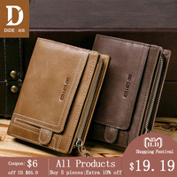 DIDE 2018 Large capacity Genuine Leather Soft vintage style men wallets purse male Card Holder Perse men's gift 741