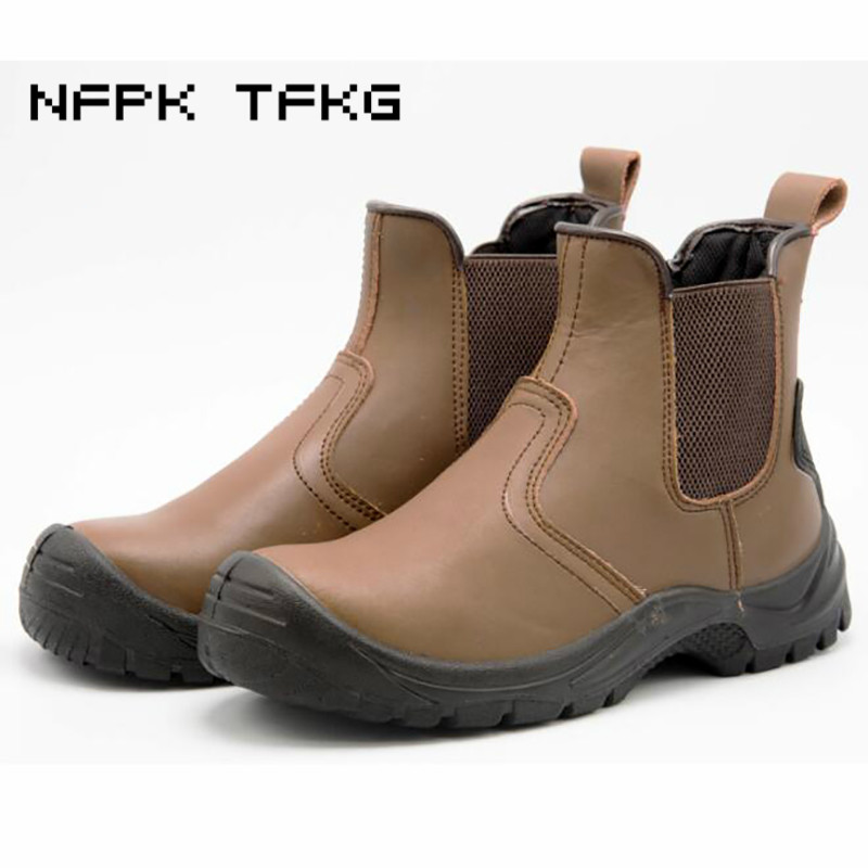 super large size men fashion breathable steel toe cap work safety tooling shoes cow leather security chelsea ankle boots zapatos