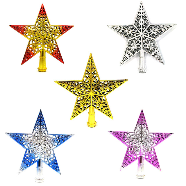 1 pcs hollow out xmas tree top pentagonal stars plastic christmas tree ornaments standing decor home