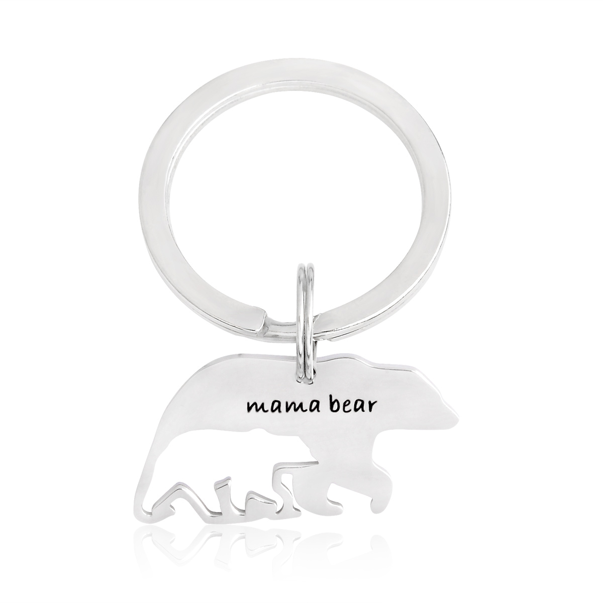 Mama bear with hollow baby bear Keychain Silver Stainless steel Key chains Keyring For Mom Mother Kids Family Animal Jewelry