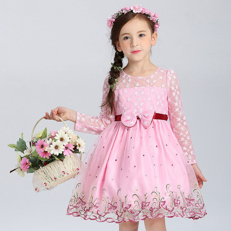 Princess Girl Dress Long Sleeve Hollow Lace Kid Clothes Embroidery Floral Bow Pattern Summer Children Clothing 10 Years girls europe and the united states children s wear red princess long sleeve princess dress child kids clothing red bow lace
