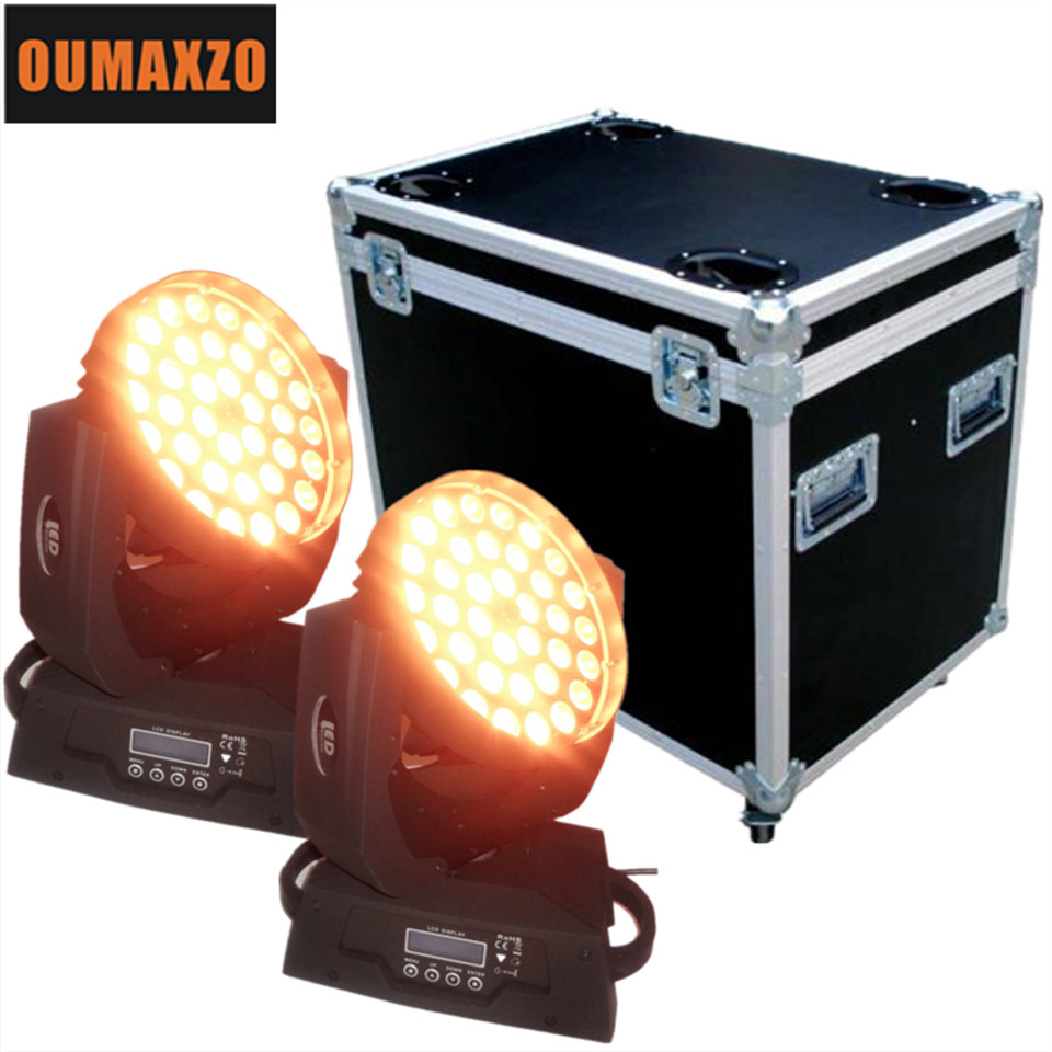 2pcs/lot&flightcase Professional Pro dj disco stage light 36 x 15w Wash Mixing Moving Head rgbwa led moving head light with zoom