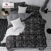SlowDream Black Bed Cover Set Geometric Duvet Cover Double Queen Flat Bed Sheets Nordic Bedclothes Home Textiles Bespread Set