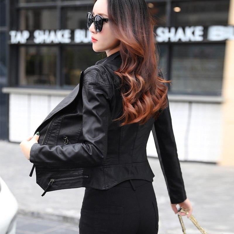 Automne Black Femmes De Cuir Lavé Sexy Abrigo Mode En Slim C4881 Pu Noir Nouvelle Manteau Mujer Faux Veste Courte Biker rn0HfBqrT