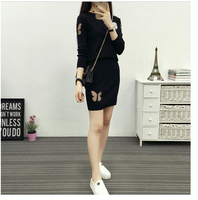 Autumn new slim suit female bag hip A word short skirt sweater with peace of mind with two sets of tide W461