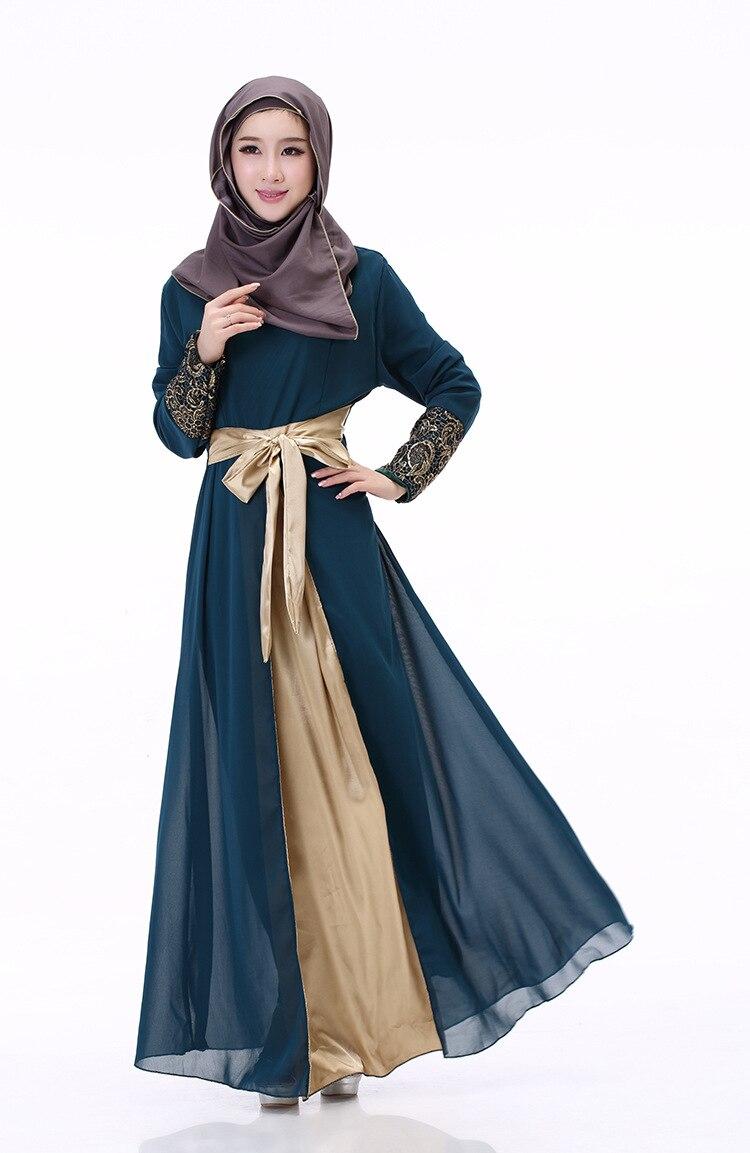 New Muslimabaya Dress 2017 Summer Long Sleeve Chiffon Crochet Muslim