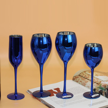 Europe Creative blue color plating metal glass cup crystal goblet wine champagne home wedding decor drinkware