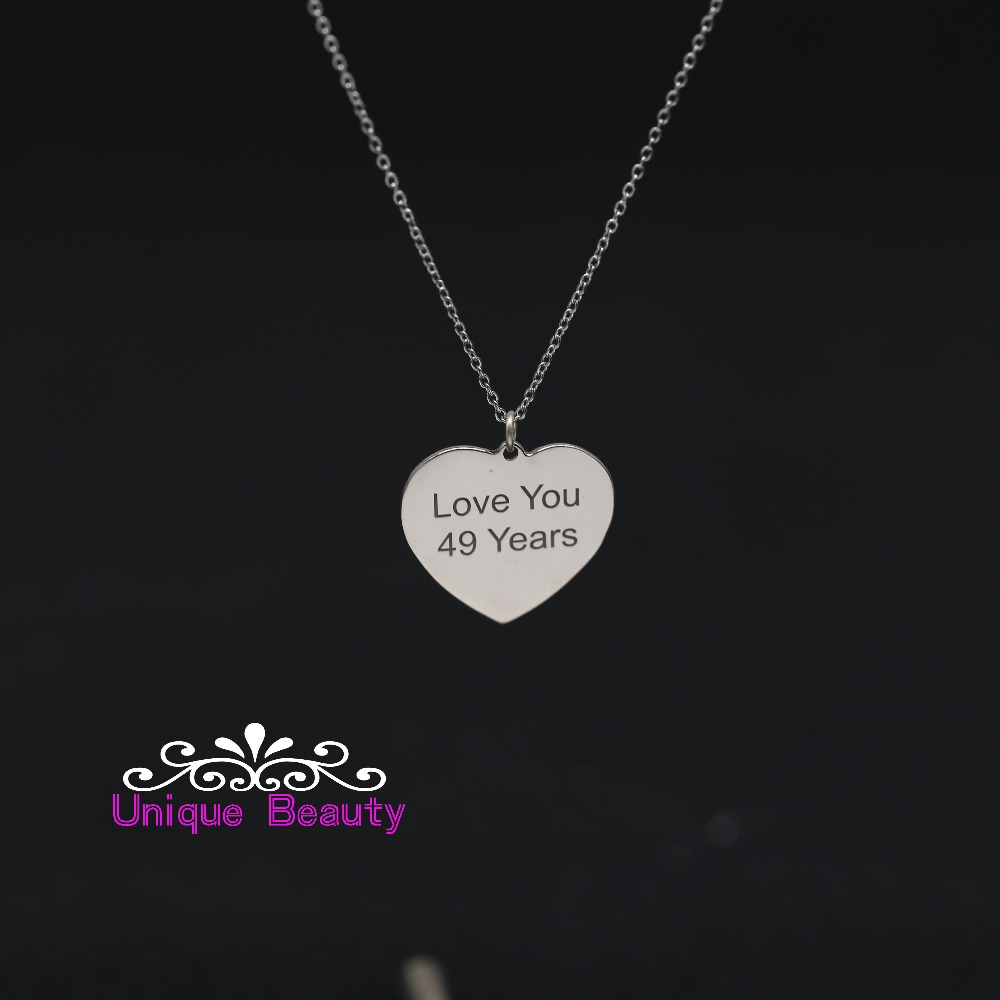 цена на Engrave Words Necklace Solid Silver Necklace With Heart Shap Custom Necklace For Birthday Gift