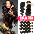 Alipearl Hair 8A  Brazilian Virgin Hair with Closure Human Hair Weave With Closure Brazilian Body Wave With Lace Closure