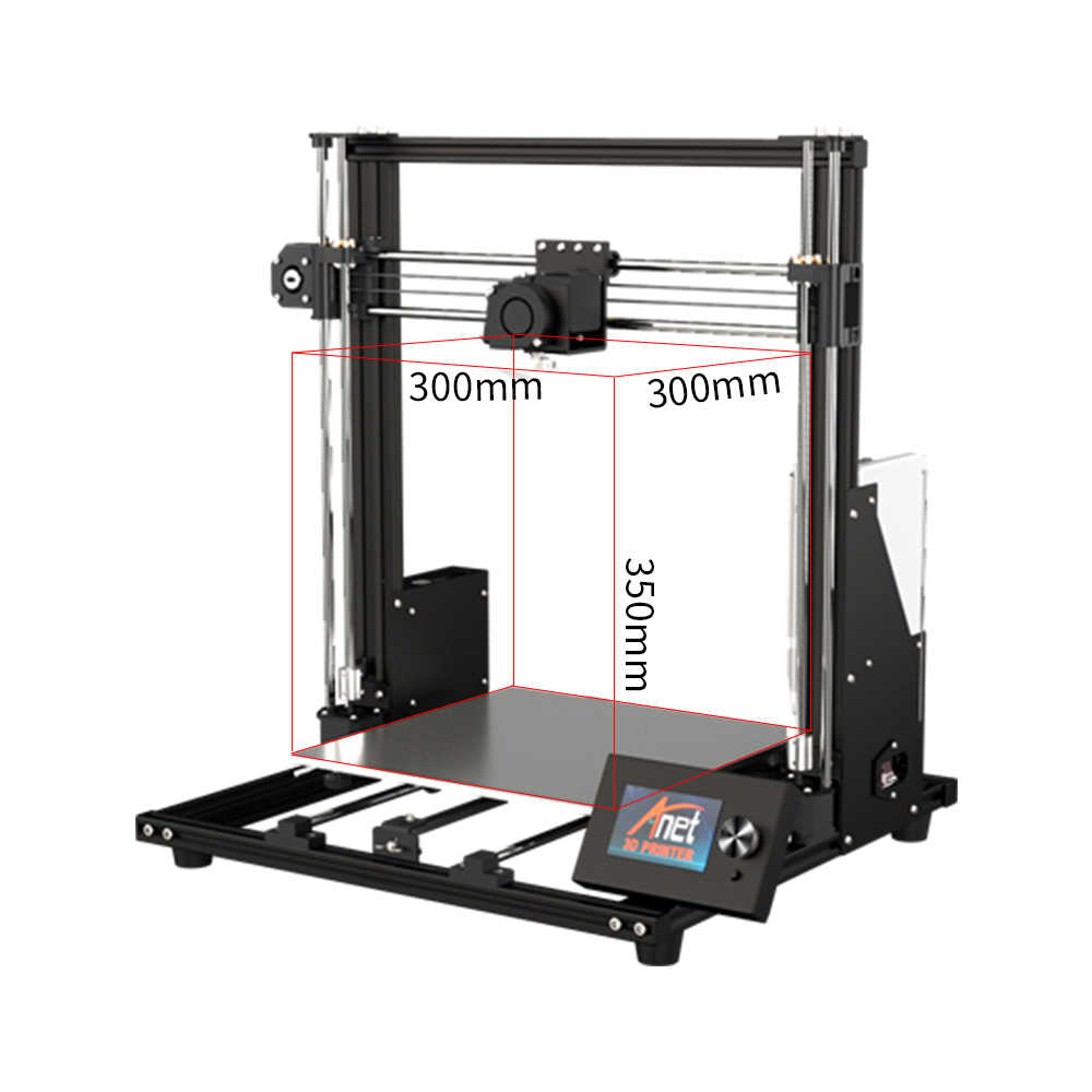 Impresora 3D Anet A8 Plus de 300x300x350mm actualizada, Kit de impresión 3D de escritorio de alta precisión poco ruidoso, USB, conexión de tarjeta SD