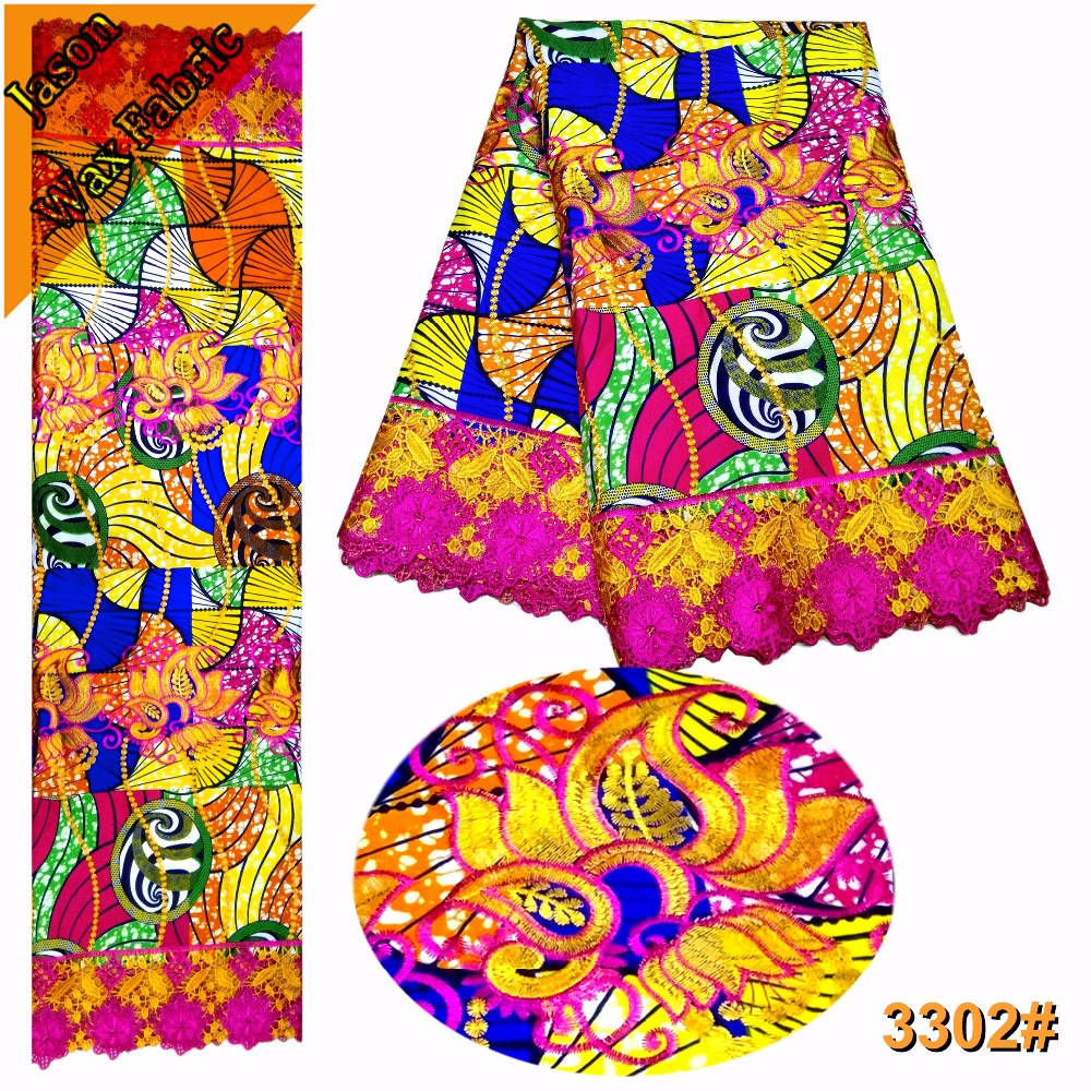 Latest African Guipure Wax polyester Lace High Quality Embroidered Ankara Lace Fabric /Colorful Nigerian Prints Wax Lace / LBL