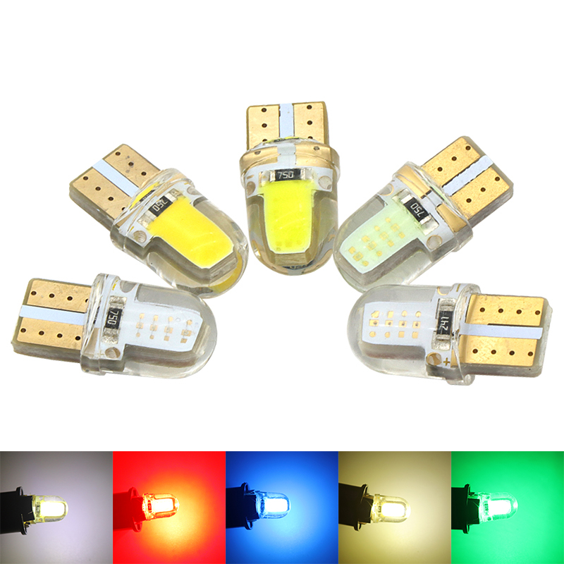 1X Auto T10 LED W5W LED Bulbs White 194 168 LED Lamp 501 COB silicone shell Car LED Lights Super Bright Turn Side Lamp 12V D030 4pcs super bright t10 w5w 194 168 2825 6 smd 3030 white led canbus error free bulbs for car license plate lights white 12v