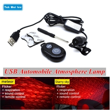 Tak Wai Lee USB LED Flicker Respiration Sound Remote Control Car Styling Atmosphere Light Meteor Starry Sky Interior Laser Lamp