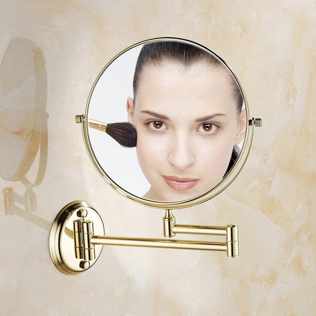8 Inch Golden Polished Brass Bathroom Cosmetic Mirror Makeup Mirror Double Slide Magnifying Bath Mirrors Wall Mounted