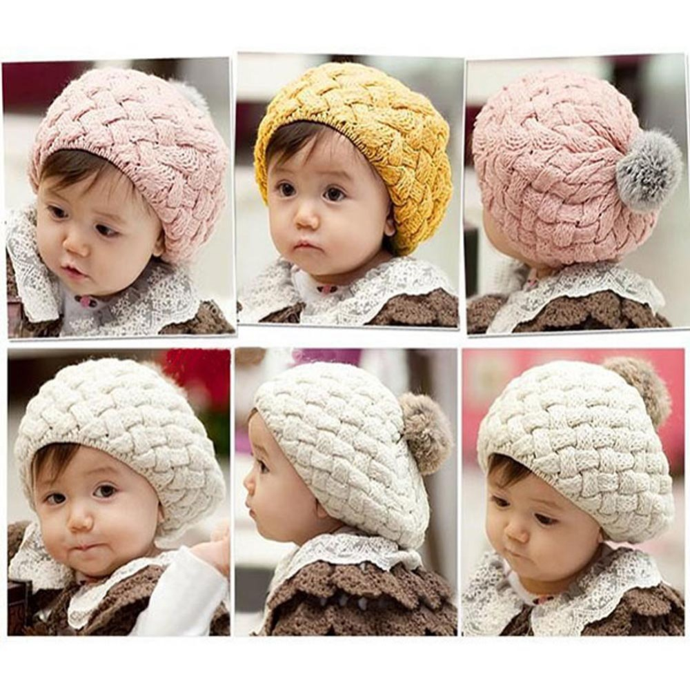 Kids Girls Baby Handmade Crochet Knitting Beret Hat Cap Cute Warm Beanie 4Colors QL