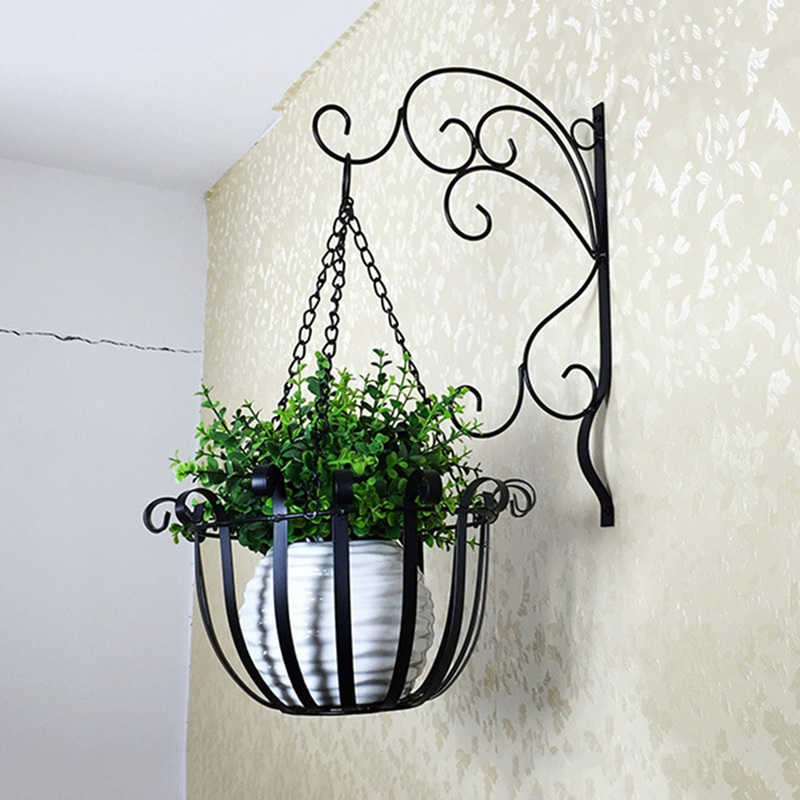 Plant Hanger Home Vintage Iron Wall Mounted Flowerpot
