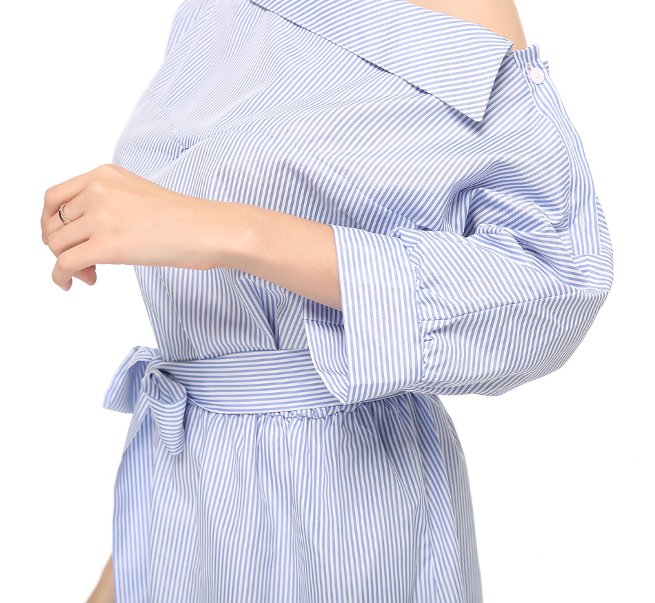 Summer Women Dress Blue Striped Shirt Short Dress Mini Sexy Side Split Half Sleeve Beach Dresses 2018 Plus Size Sundress 3XL 1