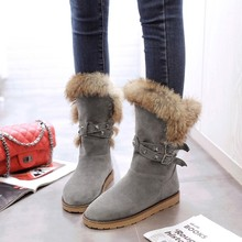 2016 New Women boots winter heels knee high boots warm cotton padded shoes women high wedges suede leather snow boots