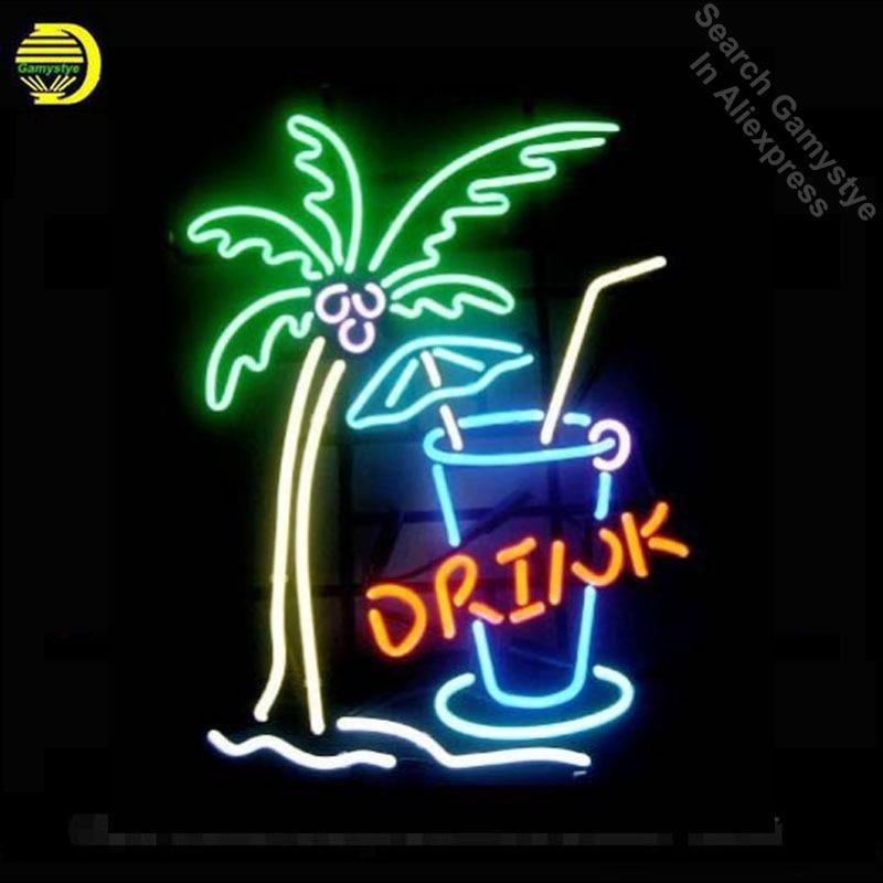 17x14 Palm Tree Drink Custom Handmade Real Glass Neon Signs Beer Bar Light custom LOGO neon lights Art Lamps vintage neon signs custom signage neon signs pizza beer real glass tube bar pub signboard display decorate store shop light sign 17 14