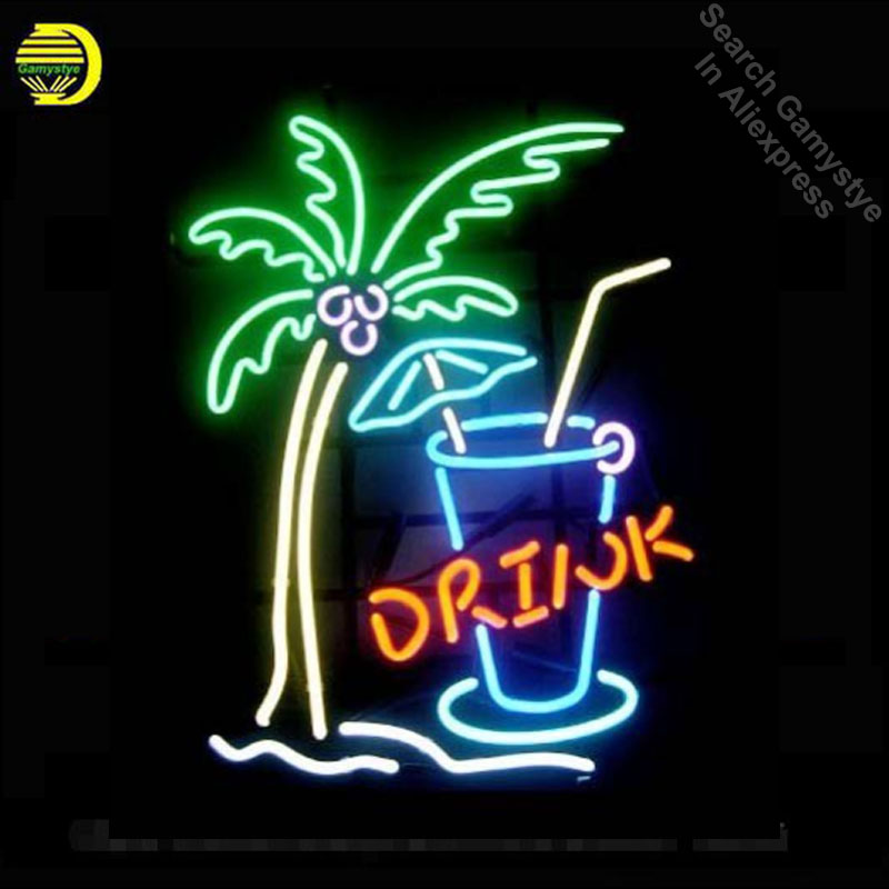 17x14 Palm Tree Drink Custom Handmade Real Glass Neon Signs Beer Bar Light custom LOGO neon lights Art Lamps vintage neon signs