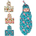 Newborn Mint Floral Swaddle Sack, Swaddle, Cocoon, Organic Baby Cosy Sleep Sack, Blanket Topknot beanie Photo Props 1set H031