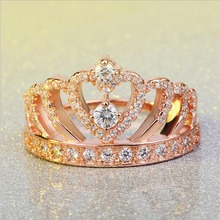 New Luxury Female Crown Ring Rose Gold Color Engagement Wedding Heart Ring For Women Jewelry Ring