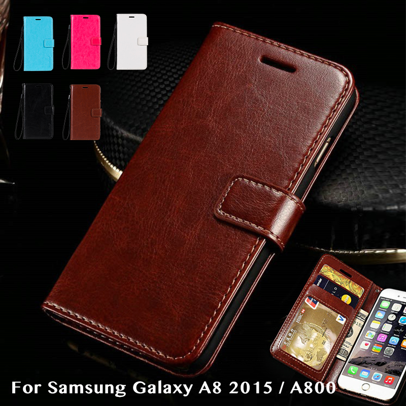 Flip Wallet Case For <font><b>Samsung</b></font> Galaxy A8 2015 Back Cover Vintage Leather Book Case For <font><b>Samsung</b></font> Galaxy <font><b>A8000</b></font> Tpu Silicone Case image