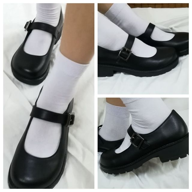 Japanese School Students Uniform Shoes Uwabaki JK Round Toe Buckle Trap Women Girls Lolita Cosplay Med