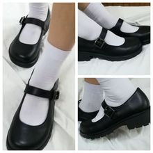 일본 학교 학생 제복 신발 Uwabaki JK 라운드 발가락 버클 트랩 여자 여자 로리타 코스프레 Med Heels G10