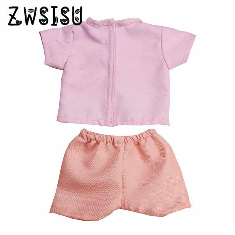 เสื้อยืดสีชมพูกางเกงขาสั้นสีชมพูเหมาะสำหรับตุ๊กตาอเมริกัน 18 นิ้ว, เหมาะสำหรับ 43 ซม. ตุ๊กตา, ให้เด็กที่ดีที่สุด g
