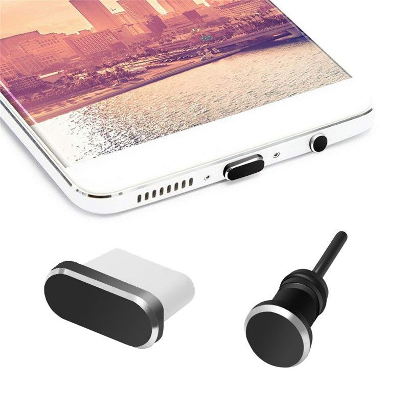 USB C Aluminum Dust Plug Set TYPE-C Charging Port 3.5mm Headphone Jack Cell Phone Accessories For Samsung S10 S9 Huawei Mate 20