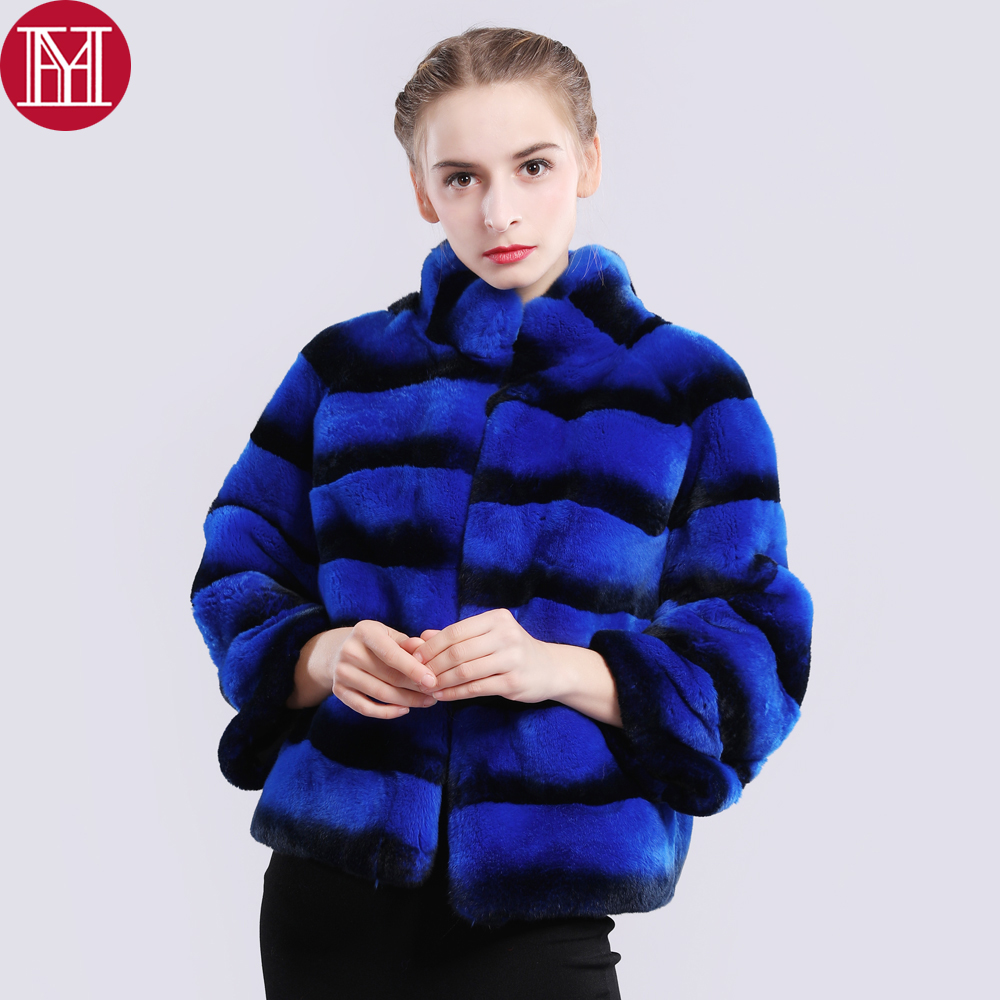 2019 New Hot Sale Women Genuine Real Rex Rabbit Fur Coat High Quality Chinchilla Color Winter 100% Natural Rex Rabbit Fur Jacket