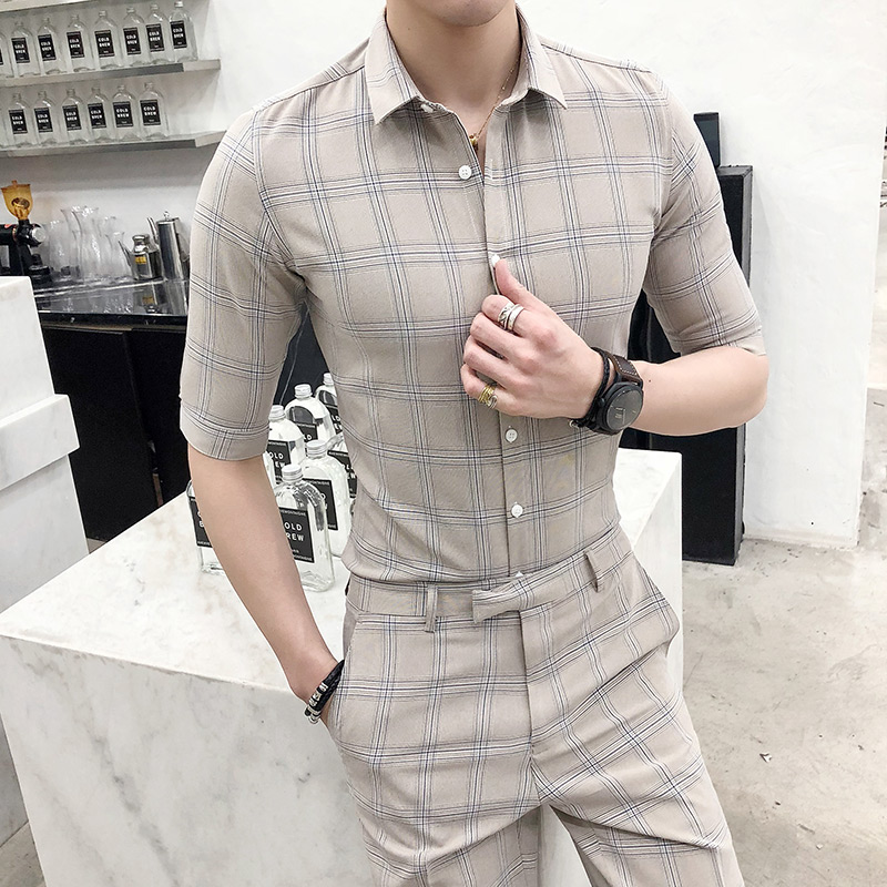 2019 Single-breasted Casual Seven-point Sleeve Five-point Sleeve Shirt Men's Summer Wedding Men's Plaid Suit Nine Pants Suit Men