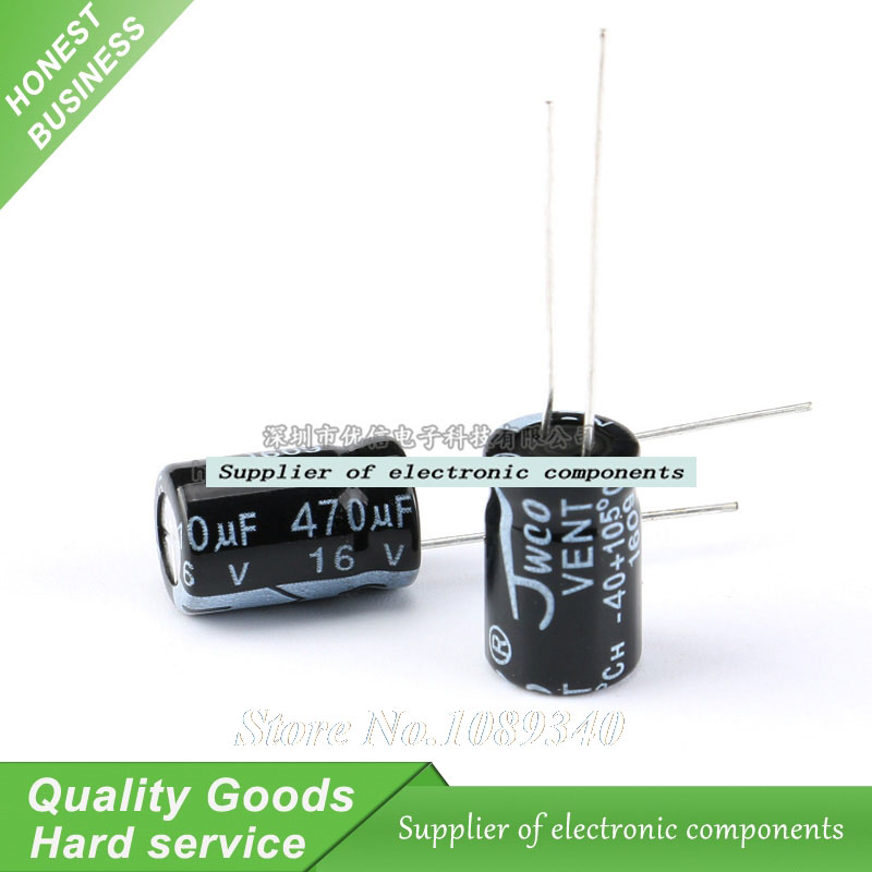 20PCS 16V 470UF 8*12 8X12MM 470UF DIP Aluminum electrolytic capacitors New Original Free Shipping