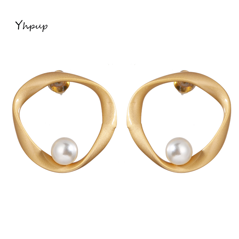 Yhpup Fashion Brand Chic Irregular Twisted Round Geometric Stud Earrings S925 Silver Gold Simple Earrings For Women Party Gift