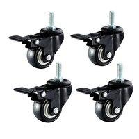 1 5 2 Swivel Casters Wheel 4pcs M10 PU Rubber Swivel Casters With 360 Degree Each