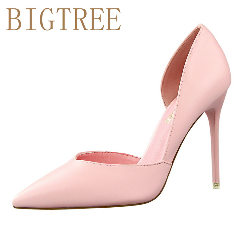 BIGTREE Summer Shoes Women Elegant Pumps Pointed Sexy Club Ultra Thin High Shoes 10.5 cm High-heeled Shoes Hollow Sweet Stiletto female summer european style stitching sequins pointed personality gradient color with ultra thin high heeled shoes
