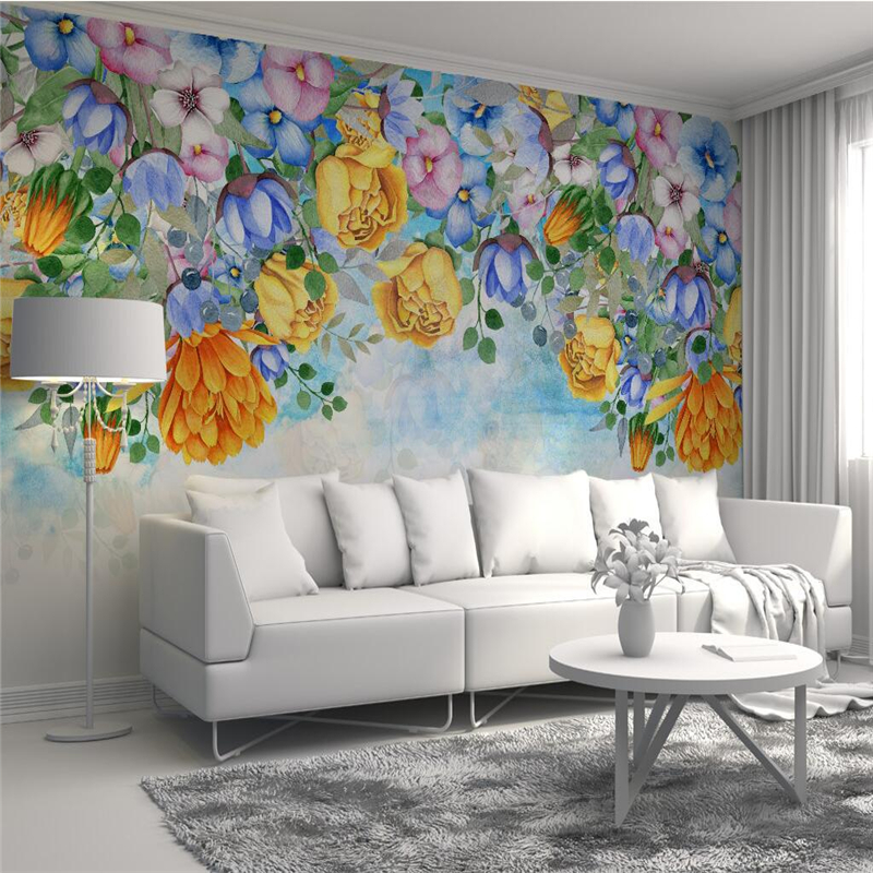 Custom Wall Papers Home Decor Watercolor Flowers 3d Wallpaper Murals Small Fresh Minimalist TV Background Kitchen Study Bedroom custom wall papers home decor flamingo sea 3d wallpaper murals tv background kitchen study bedroom living room 3d wall murals