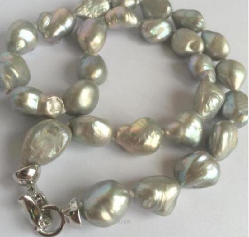 10-13 мм Южно-морской серый жемчуг барокко ожерелье