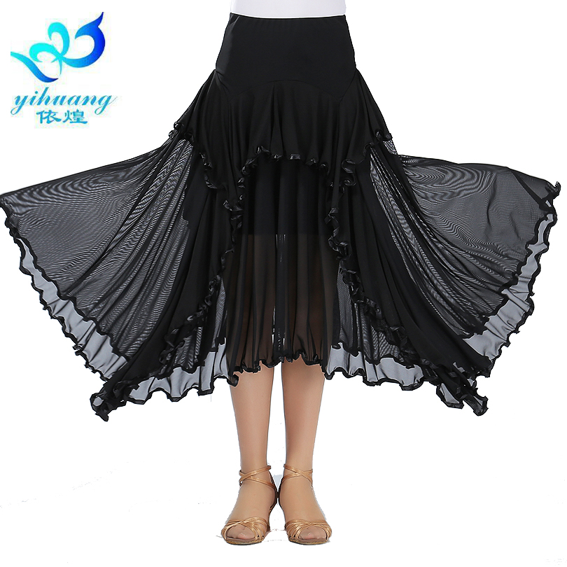 Gratis frakt Ballroom Dance kostym Waltz kjol Modern Standard Latin Salsa Rumba Dancer Kjolar för Ladies 5 Colors # 2546