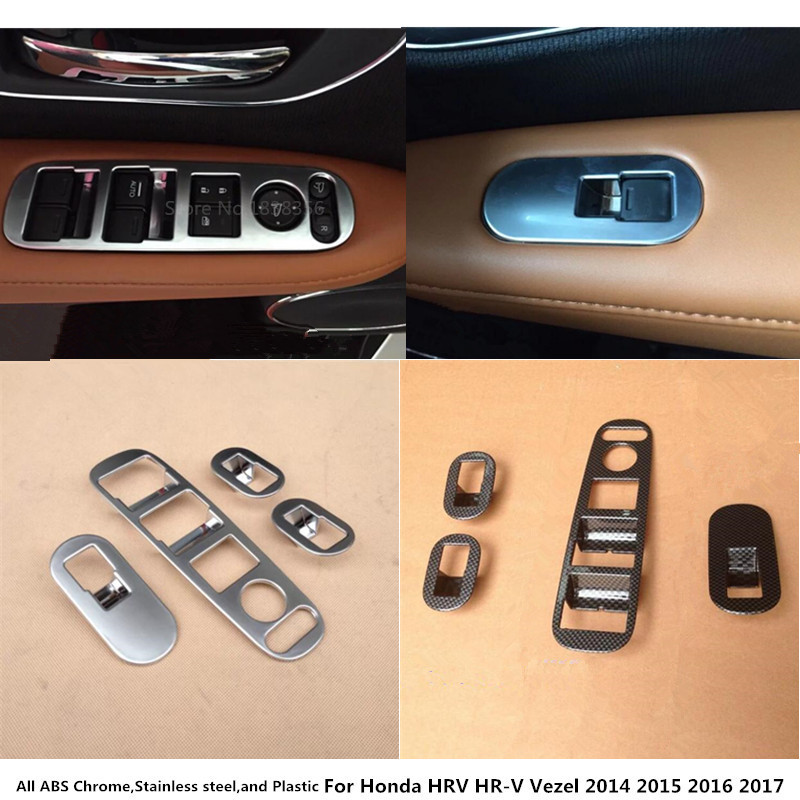 For Honda HRV HR-V Vezel 2014 2015 2016 2017 2018 Car Inner Door Window Glass Panel Armrest Lift Switch Button Trims Frame 4pcs