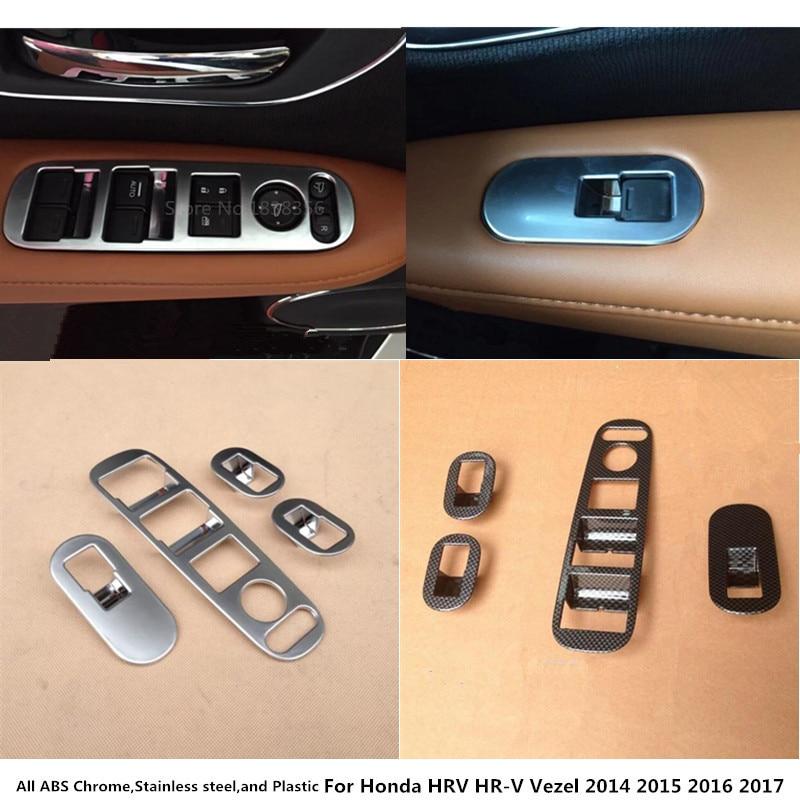 For Honda HRV HR-V Vezel 2014 2015 2016 2017 2018 Car inner door Window glass panel Armrest Lift Switch Button trims frame 4pcs